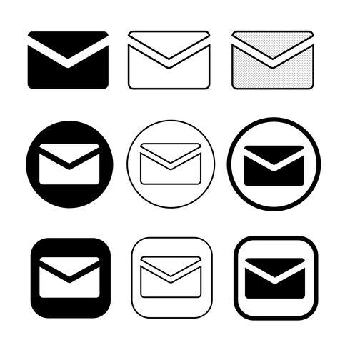 set van eenvoudige teken e-mail pictogram mail symbool