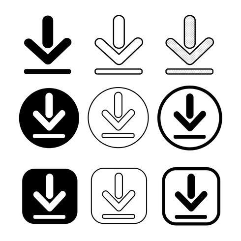conjunto de icono de descarga de signo simple