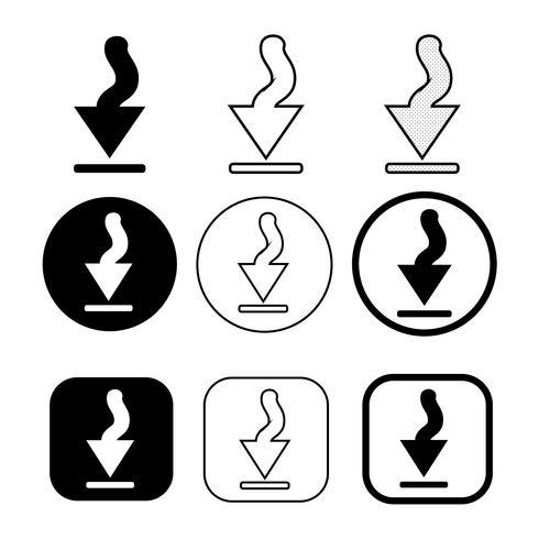 uppsättning enkel tecken nedladdning ikon