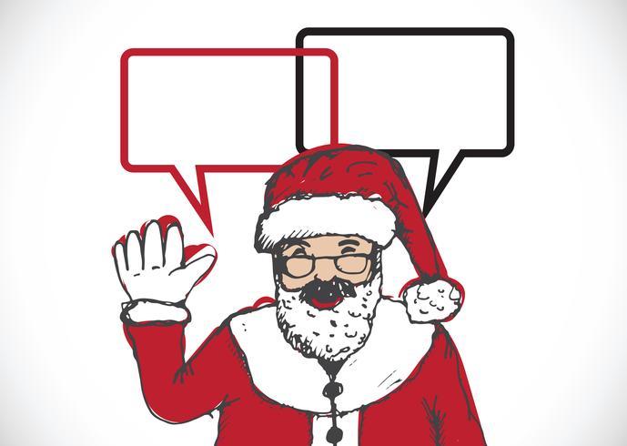 Babbo Natale per Natale disegnati a mano e parlando a fumetto