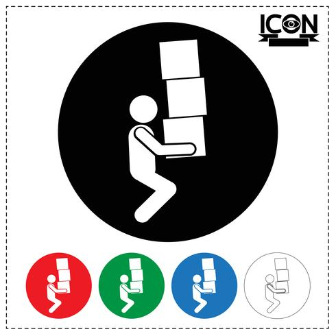 Man Moving Box Icon vector