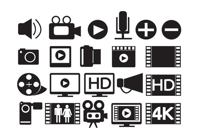 iconos de video película multimedia