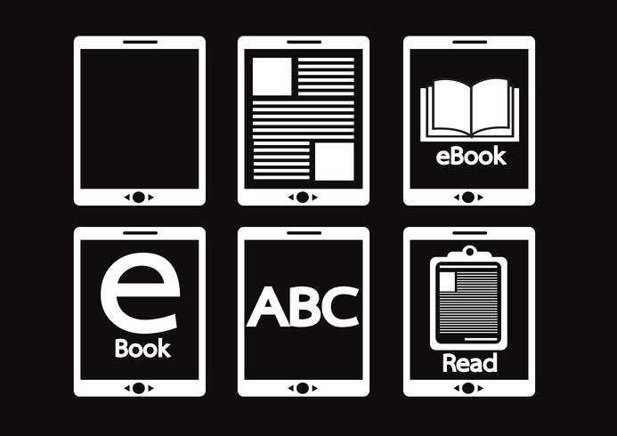 E-book reader  and e-reader icons set vector