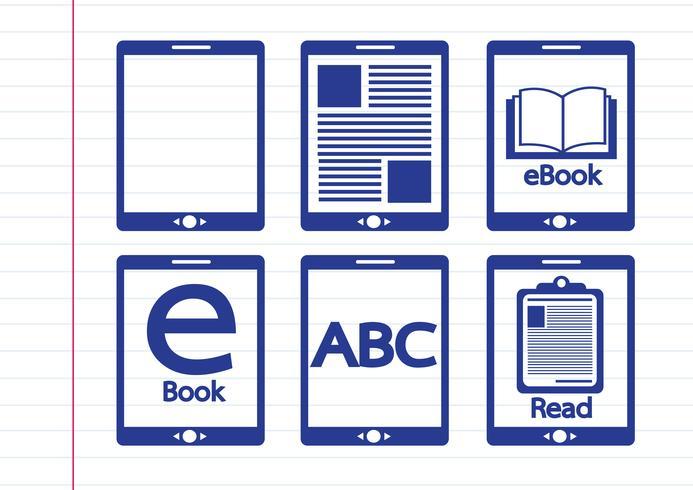 Conjunto de ícones de leitor e e-reader e-book