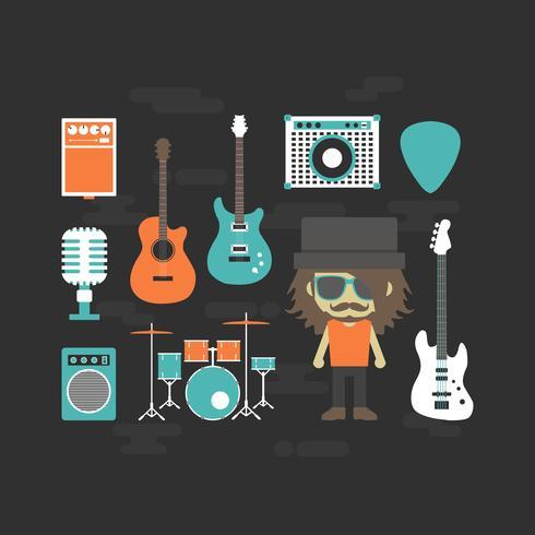 musicien rock et instrument de musique vecteur