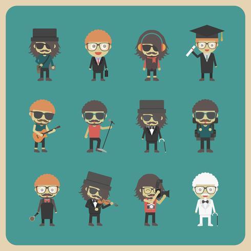 set di caratteri tutto hipster vettore