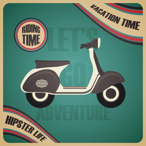cartel de scooter clásico vector