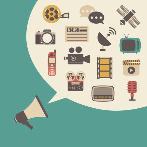 megaphone and bubble speech vector