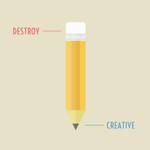 destruir e lápis criativo vetor
