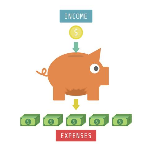 money with piggy bank vector