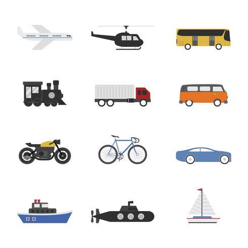 conjunto de iconos de vehículo vector