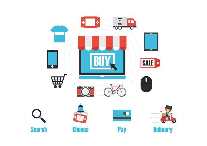 online shop infographic vector