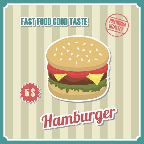 Cartaz de hambúrguer vintage