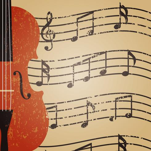 grunge violin with note vector