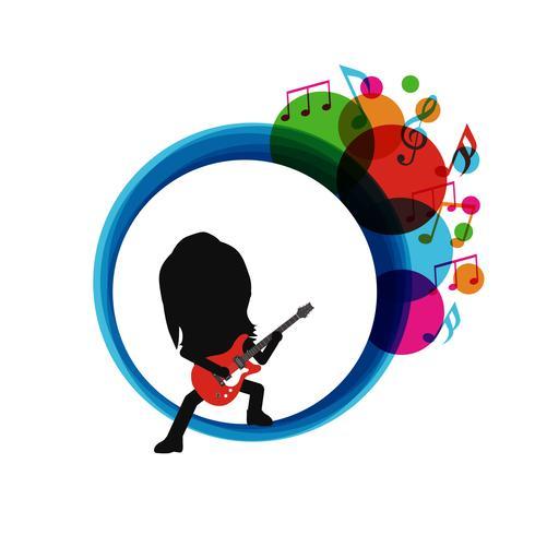 chitarrista silhouette astratta