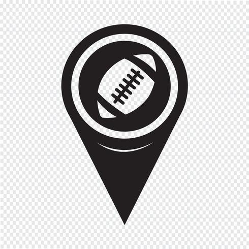 Puntatore della mappa Icona di football americano