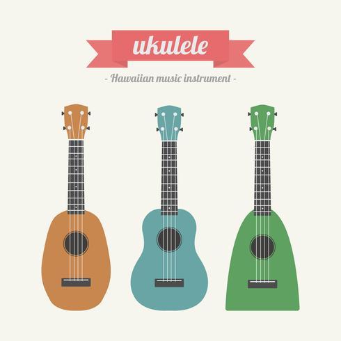 ukulele, hawaiian music instrument vector