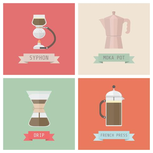 ontkoppel koffiemethoden vector