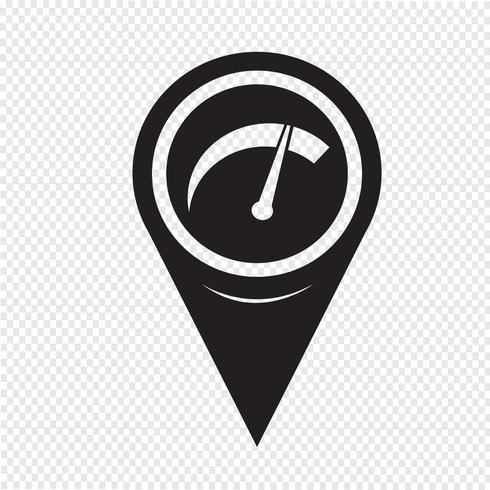 Icône de compteur de voiture de pointeur de carte vecteur