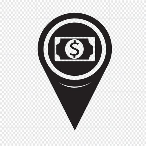 Map Pin Pointer Money-ikonen