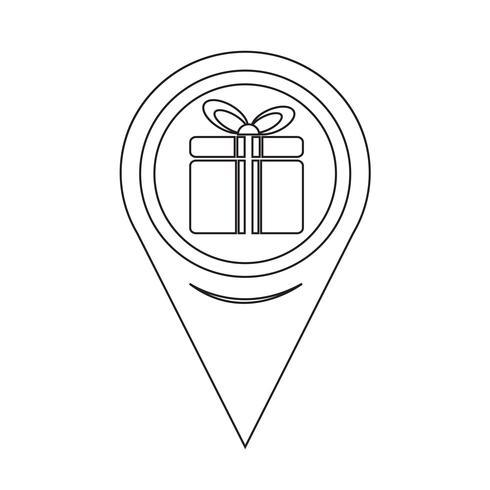 Icono de caja de regalo de puntero de mapa vector
