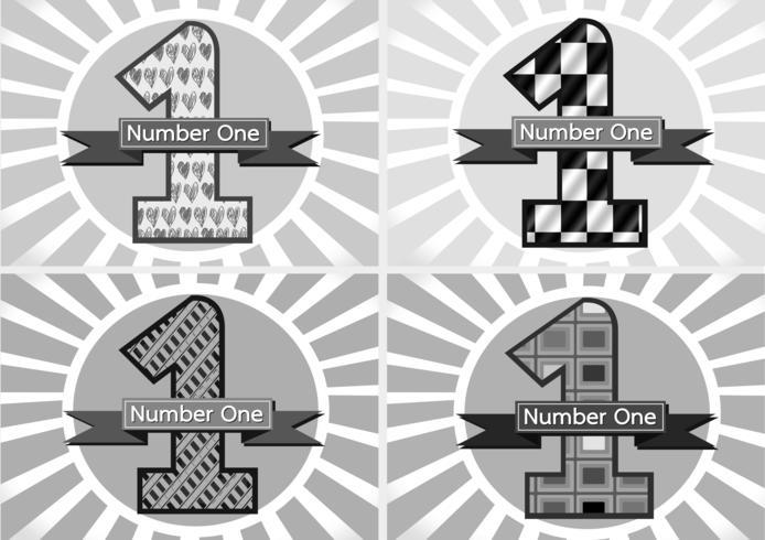 Nummer ett och vinnaren första plats skylt simbol med band