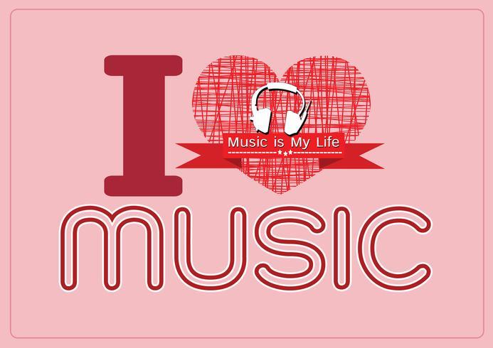 ik hou van muziek en muziek is mijn leven lettertype met tekens idee ontwerp