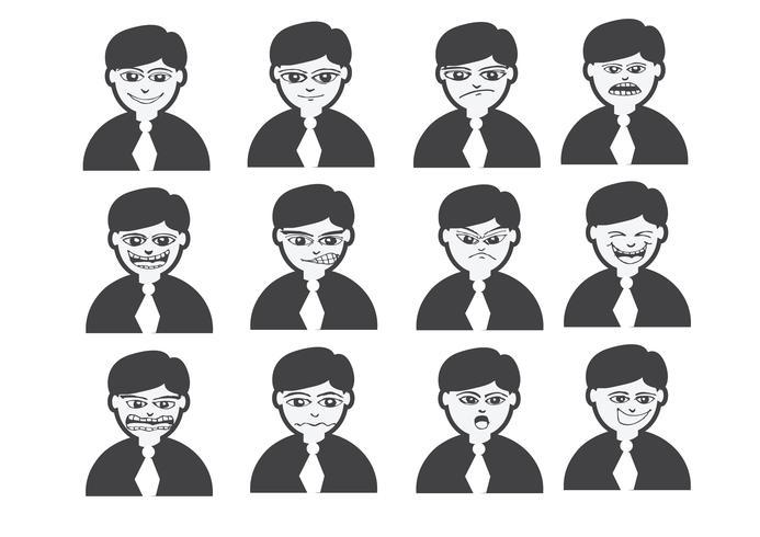 cartoon faces set drawing illustration
