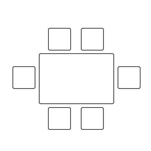 Bovenaanzicht eetkamer meubels pictogram
