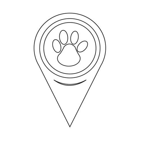 Icono de impresión de la pata del puntero del mapa