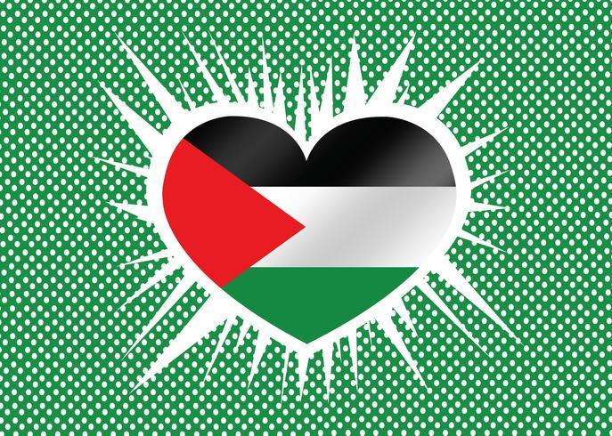 Coração e eu amo design de idéia de bandeira de faixa de Gaza