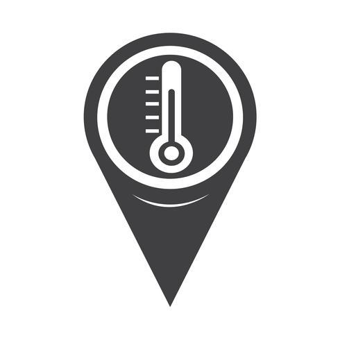 Ícone de termômetro de ponteiro de mapa
