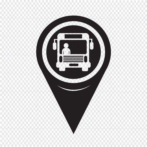 Map Pointer Bus Icon vector