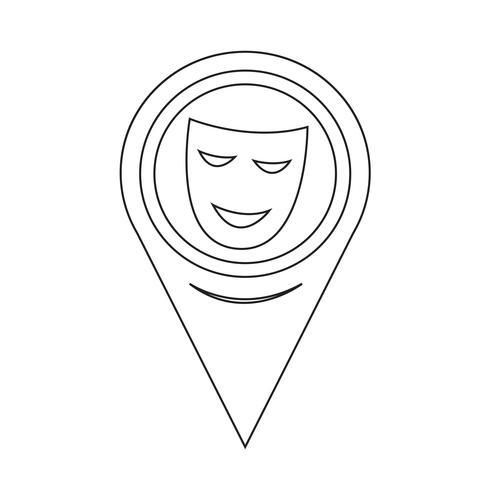 Mapa puntero icono de máscaras teatrales