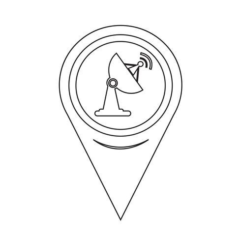 Map Pointer Satellite Dish Icon