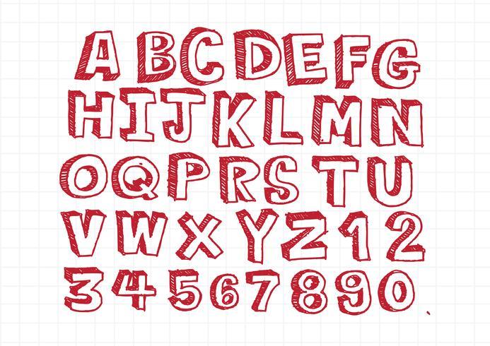 Police de lettres dessinées à la main écrite avec un stylo