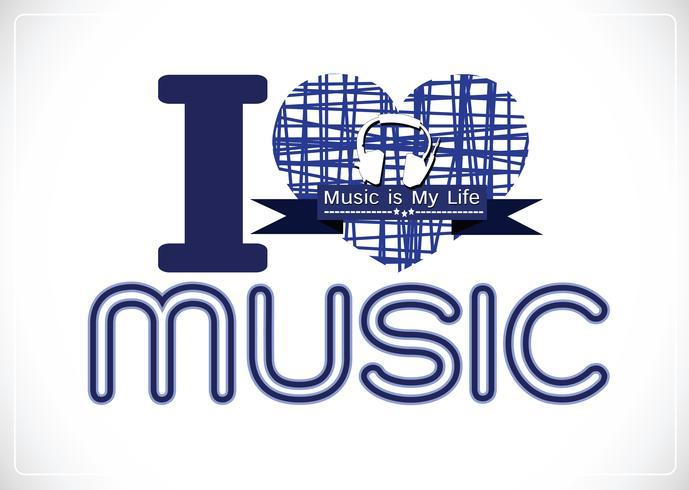 j'aime la musique et la musique est ma vie type de police mot avec des signes conception idée