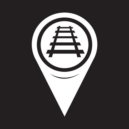 Kaart aanwijzer spoorlijnpictogram vector
