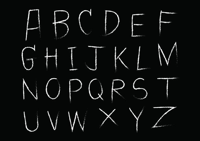 Handritad bokstavsalfabet skriven med borsten