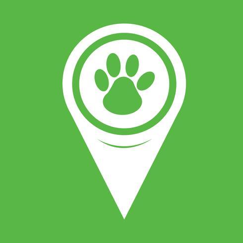 Icono de impresión de la pata del puntero del mapa vector