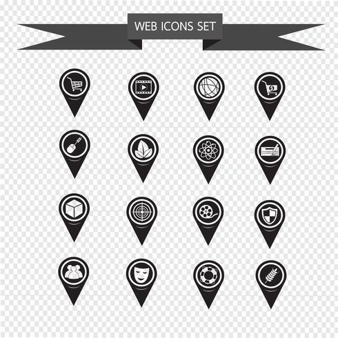 Conjunto de iconos de mapa puntero para sitio web y comunicación