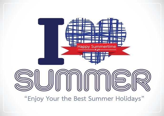 Me encanta la tarjeta de diseño de concepto de idea de verano