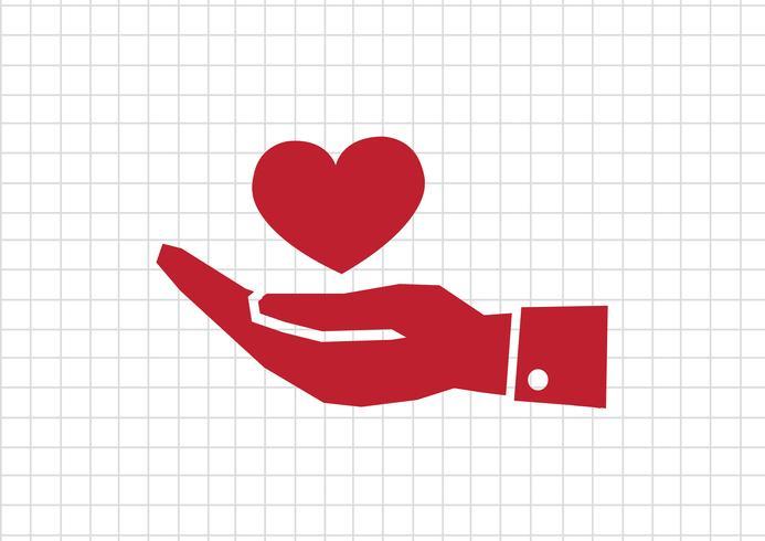 Mão de pictograma e coração