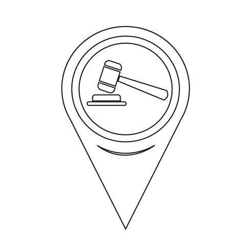 Icône de pointeur de carte marteau