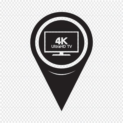 Mapa puntero HD TV icono