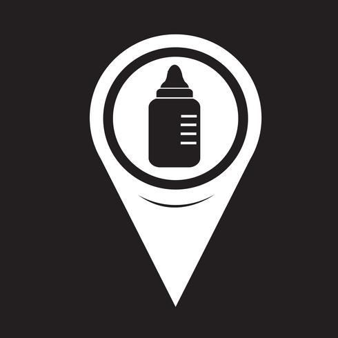 Icona di bottiglia di latte bambino puntatore mappa