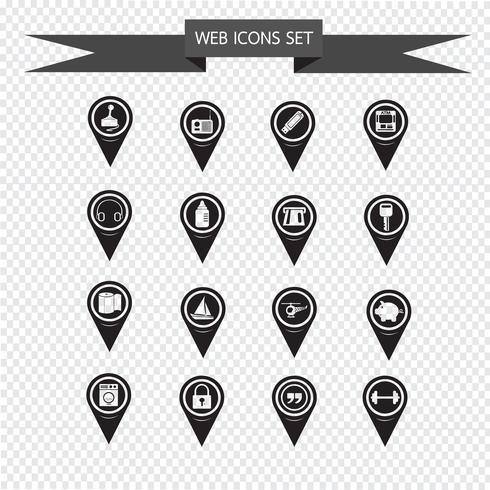 Uppsättning av kartpekarikoner för webbplats och kommunikation