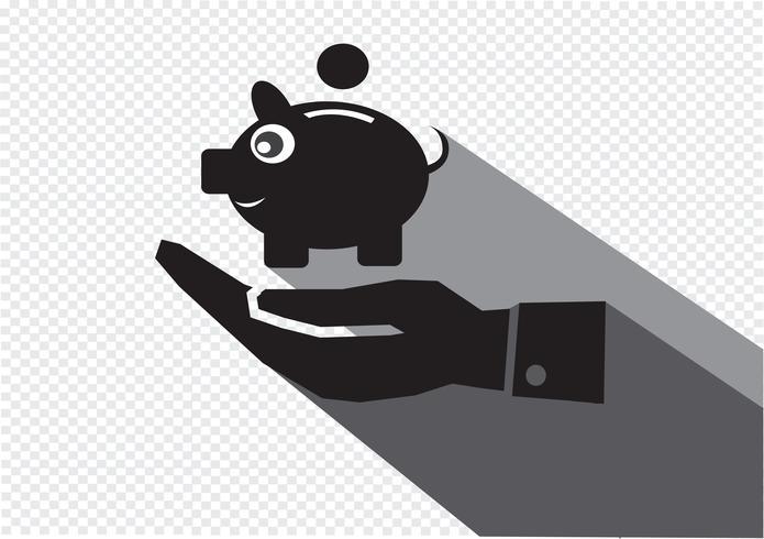 Pictogram van een hand en spaarvarken