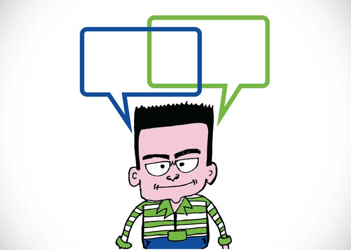 People thinking and peoples talking with dialog speech bubbles