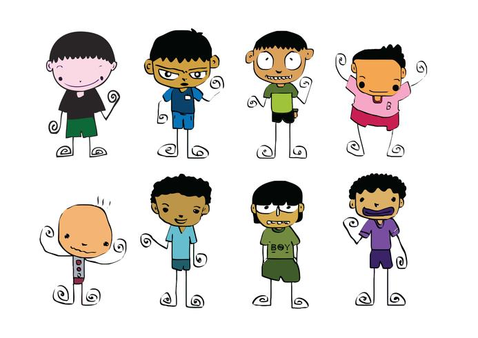 Set of cute man and young boys cartoon